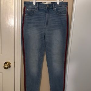 Garage High-Rise light wash jeans with Red stripe